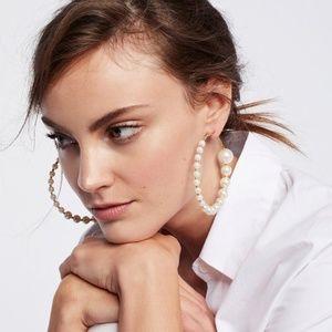 Free People Pearl Hoops Earrings
